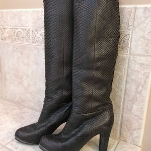 Snake Leather Dark Brown Block Heel boots size 7